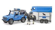 Bruder 2588 Policejní Land Rover Defender, přívěs pro koně, kůň a policista