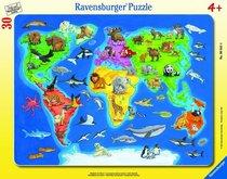 Ravensburger Mapa světa se zvířaty 30-48 dílků