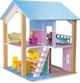 Legler 3110 Dřevěný domeček pro panenky modrá střecha