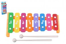 Xylofon 26cm kov/plast + 2 paličky 3 barvy v krabici 13,5x32x4cm
